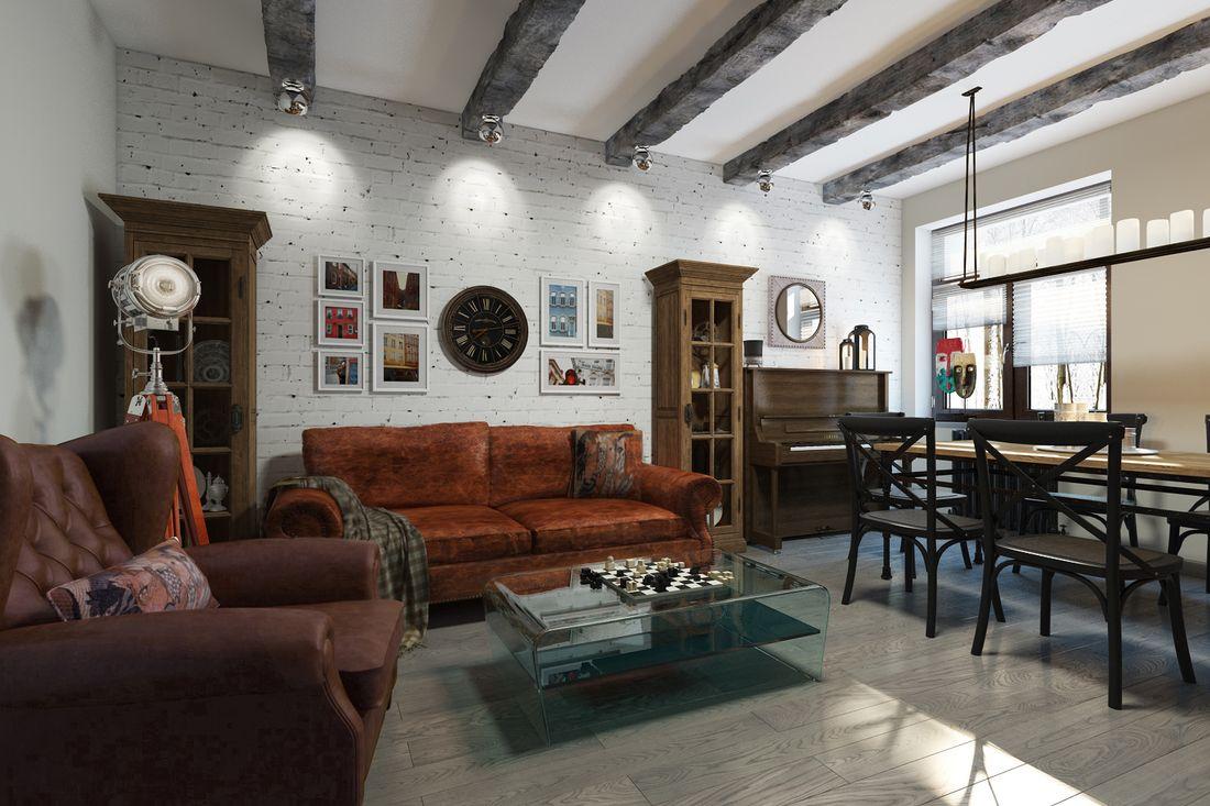 Разнообразная мебель в интерьере в стиле LOFT.