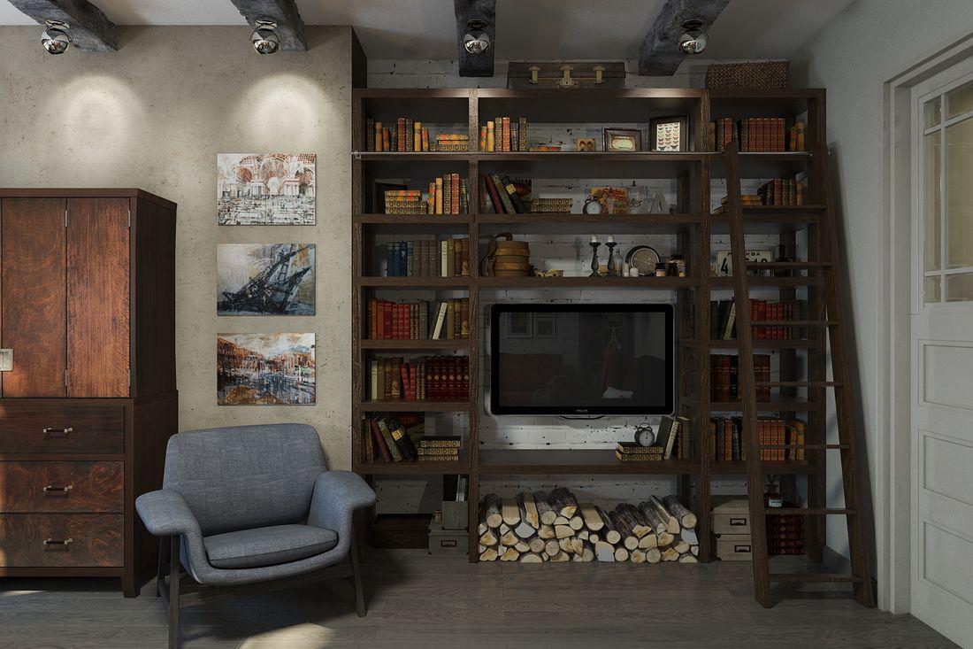 Стеллаж в нише для книг и ТВ.