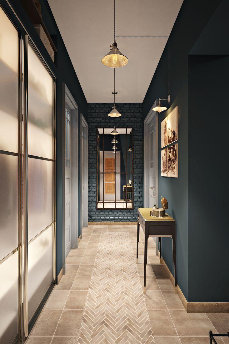 Лаконичный коридор в стиле лофт, с интересным сочетанием цветов и множеством приёмов.
