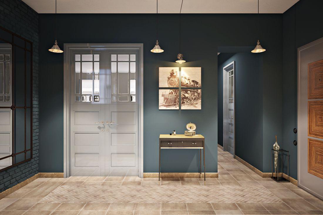 Двухстворчатая распашная, выполненная по индивидуальным эскизам, дверь.