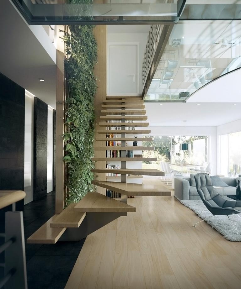 Лестница на одинарном стрингере или плавающая лестница