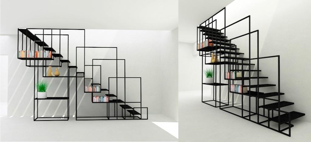 Лестница с геометрией поручней для сочетания с устройством стеллажа