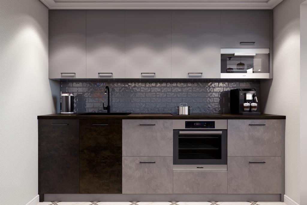 Монохромный цвет кухонных фасадов