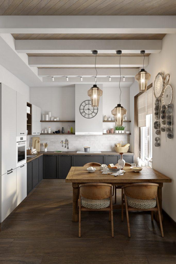 Визуальное облегчение кухонного гарнитура