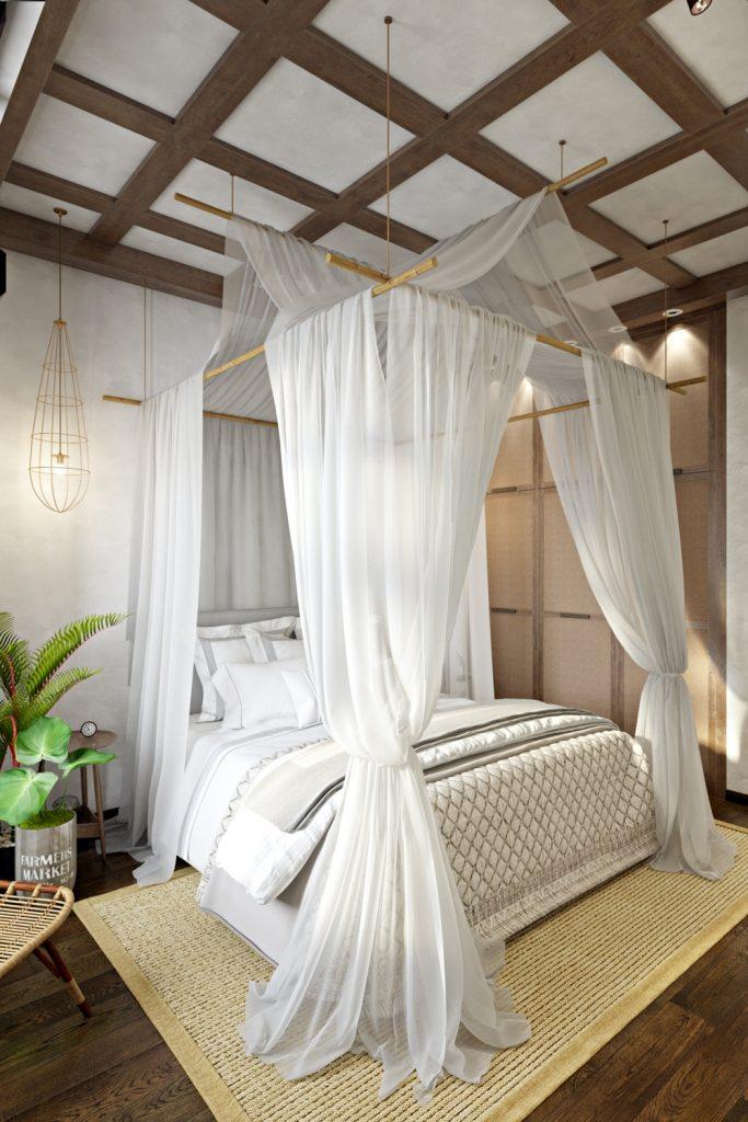 Деревянные балки, бамбук, ротанг и циновка
