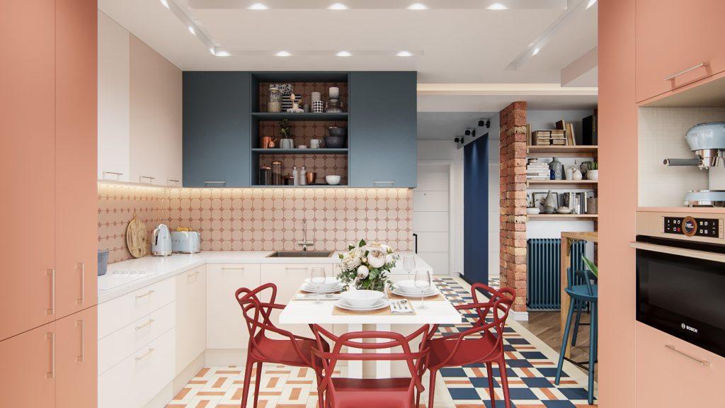 Замысловатая планировка кухонного гарнитура