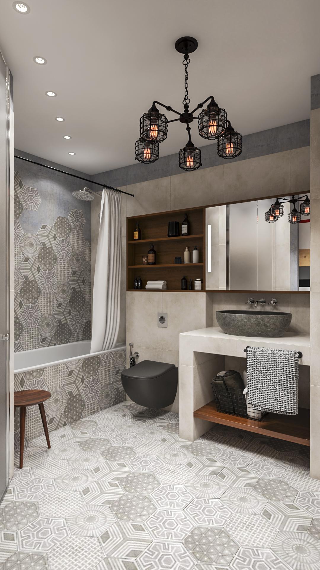 Лофт концепция в ванной комнате